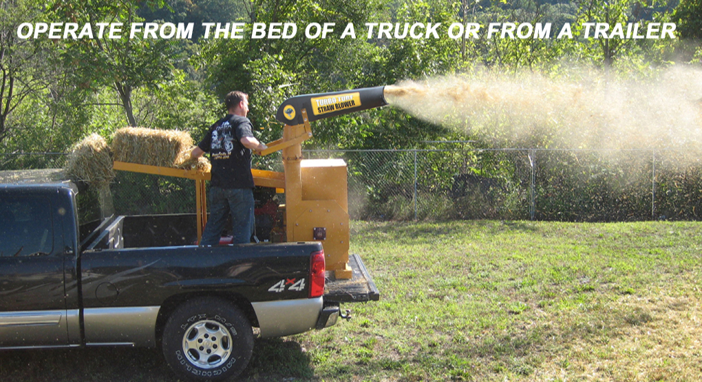 Blow straw from truck or trailer
